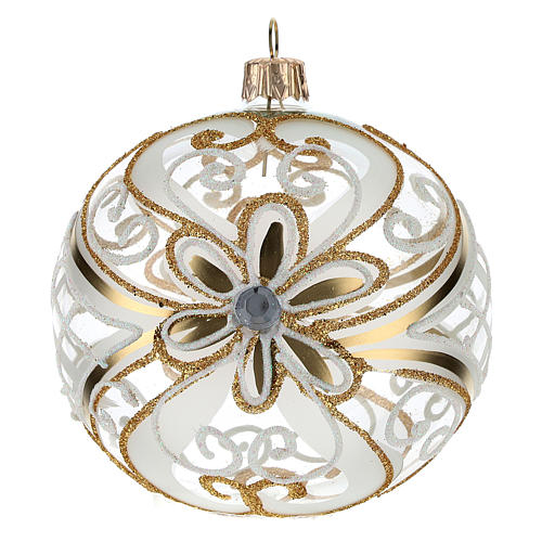 Christmas Bauble gold and white, transparent 10cm 1