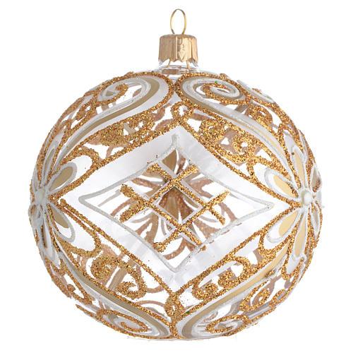 Bola de Navidad transparente decoraciones doradas y blancas 100 mm 2