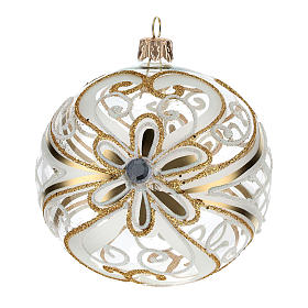 Boule de Noël or et blanc transparente 100 mm s3
