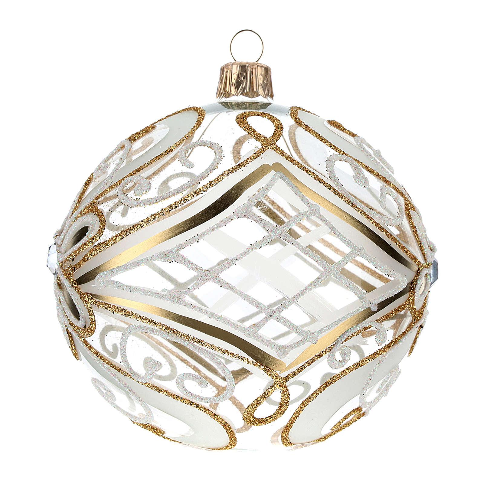 Bombka bożonarodzeniowa  przezroczysta z dekoracjami  białymi i złotymi 100mm 4