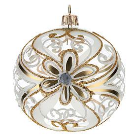 Bombka bożonarodzeniowa  przezroczysta z dekoracjami  białymi i złotymi 100mm s1