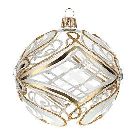 Bombka bożonarodzeniowa  przezroczysta z dekoracjami  białymi i złotymi 100mm s2