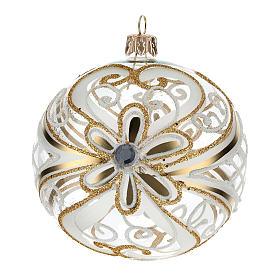 Bombka bożonarodzeniowa  przezroczysta z dekoracjami  białymi i złotymi 100mm s3