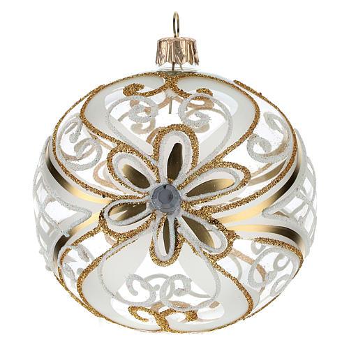 Bombka bożonarodzeniowa  przezroczysta z dekoracjami  białymi i złotymi 100mm 1
