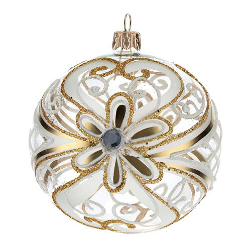 Christmas Bauble gold and white, transparent 10cm 3