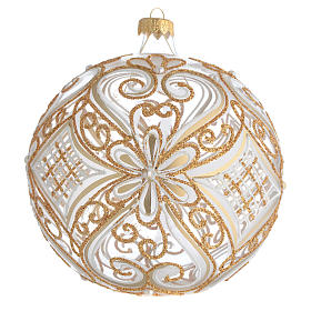 Bola de Navidad transparente decoraciones doradas y blancas 150 mm s1