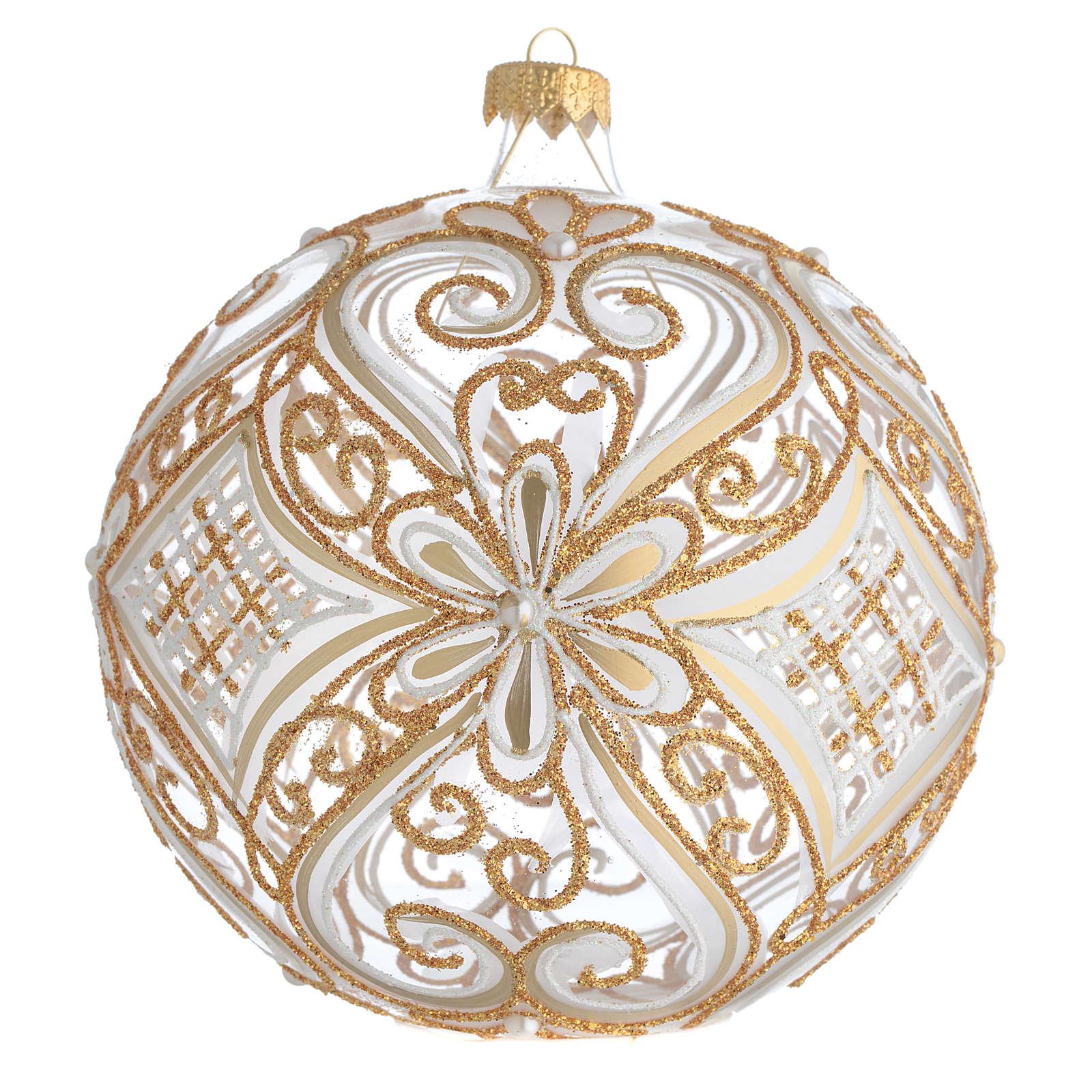 Boule de Noël décor or et blanc transparente 150 mm 4