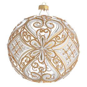 Boule de Noël décor or et blanc transparente 150 mm s1