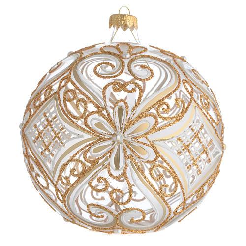 Boule de Noël décor or et blanc transparente 150 mm 1