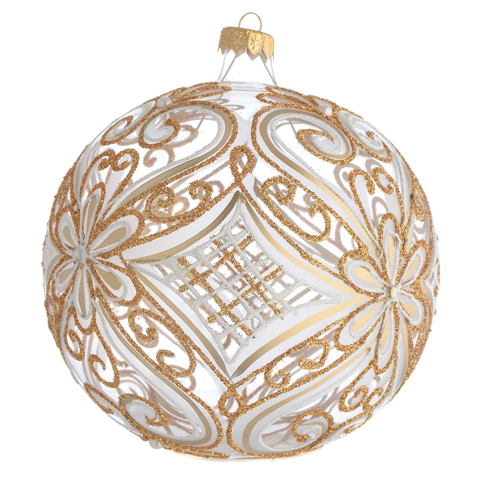 Palla addobbo albero oro e bianco trasparente 150 mm 4