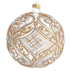 Palla addobbo albero oro e bianco trasparente 150 mm s2