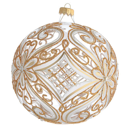 Palla addobbo albero oro e bianco trasparente 150 mm 2