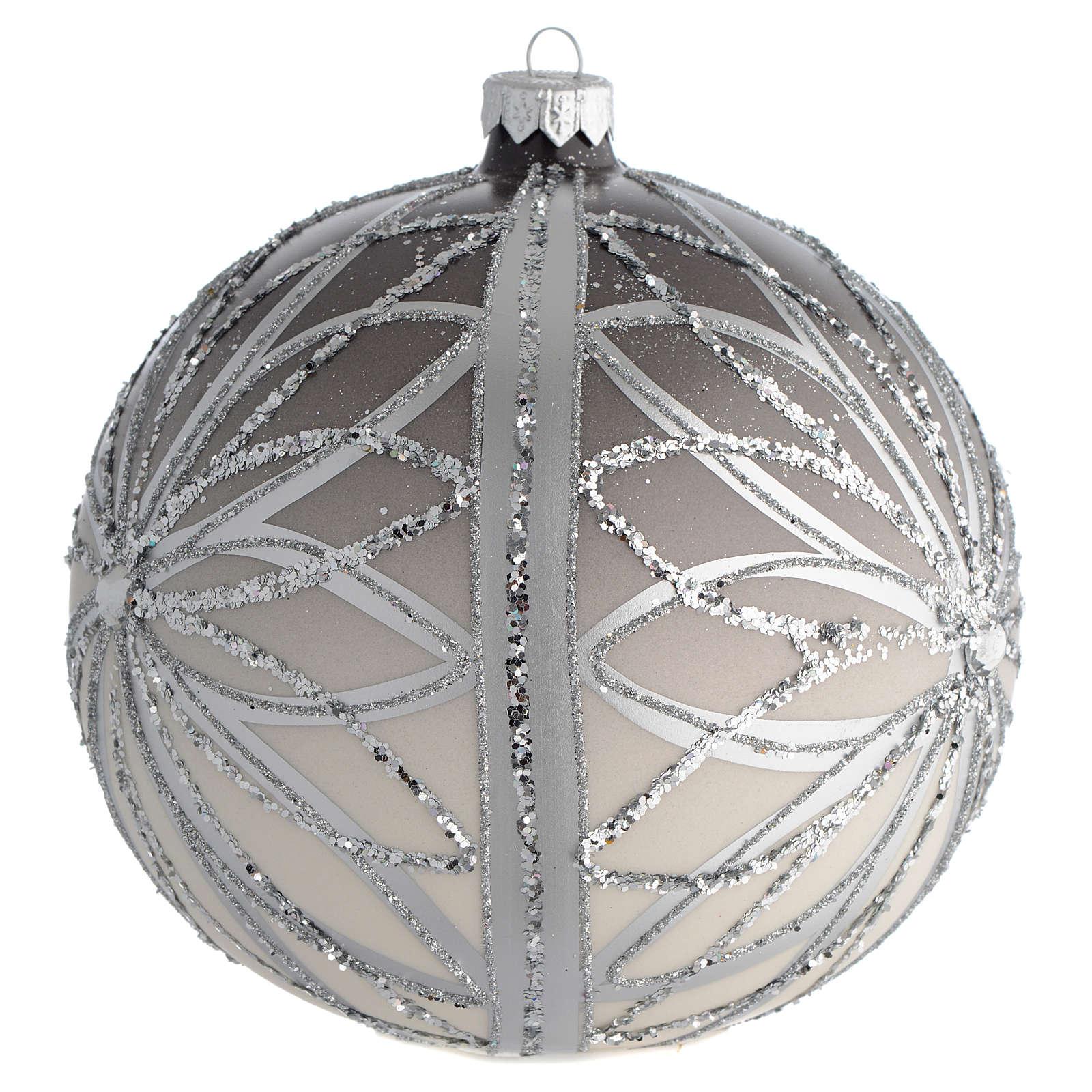 Bola de Navidad plateada con glitters 150 mm 4