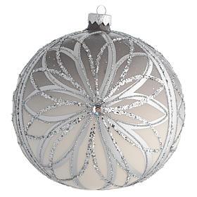 Bola de Navidad plateada con glitters 150 mm s1