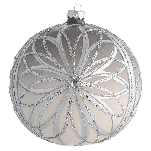Bola de Navidad plateada con glitters 150 mm 1