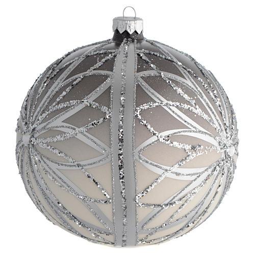 Bola de Navidad plateada con glitters 150 mm 2
