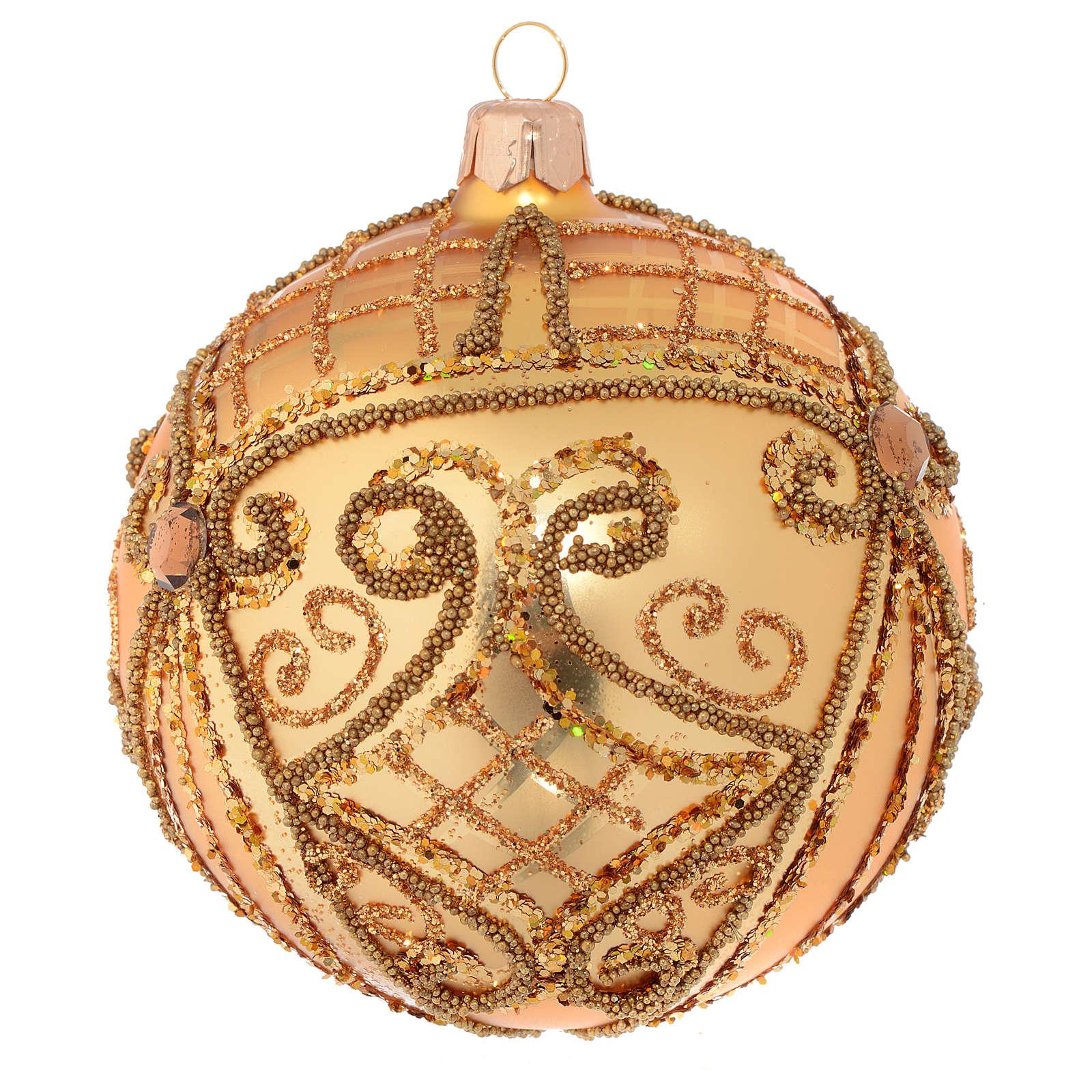 Christmas Bauble gold, matte base 10cm 4