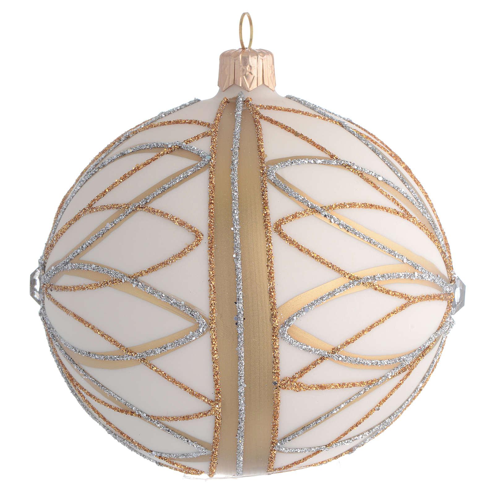 Bola de Navidad blanco crema, decoraciones oro y plata 100 mm 4
