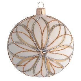 Bolas de Navidad: Bola de Navidad blanco crema, decoraciones oro y plata 100 mm