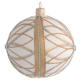 Bola de Navidad blanco crema, decoraciones oro y plata 100 mm s2