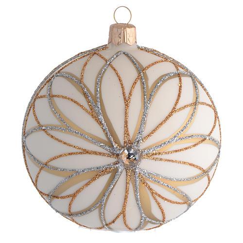 Bola de Navidad blanco crema, decoraciones oro y plata 100 mm 1