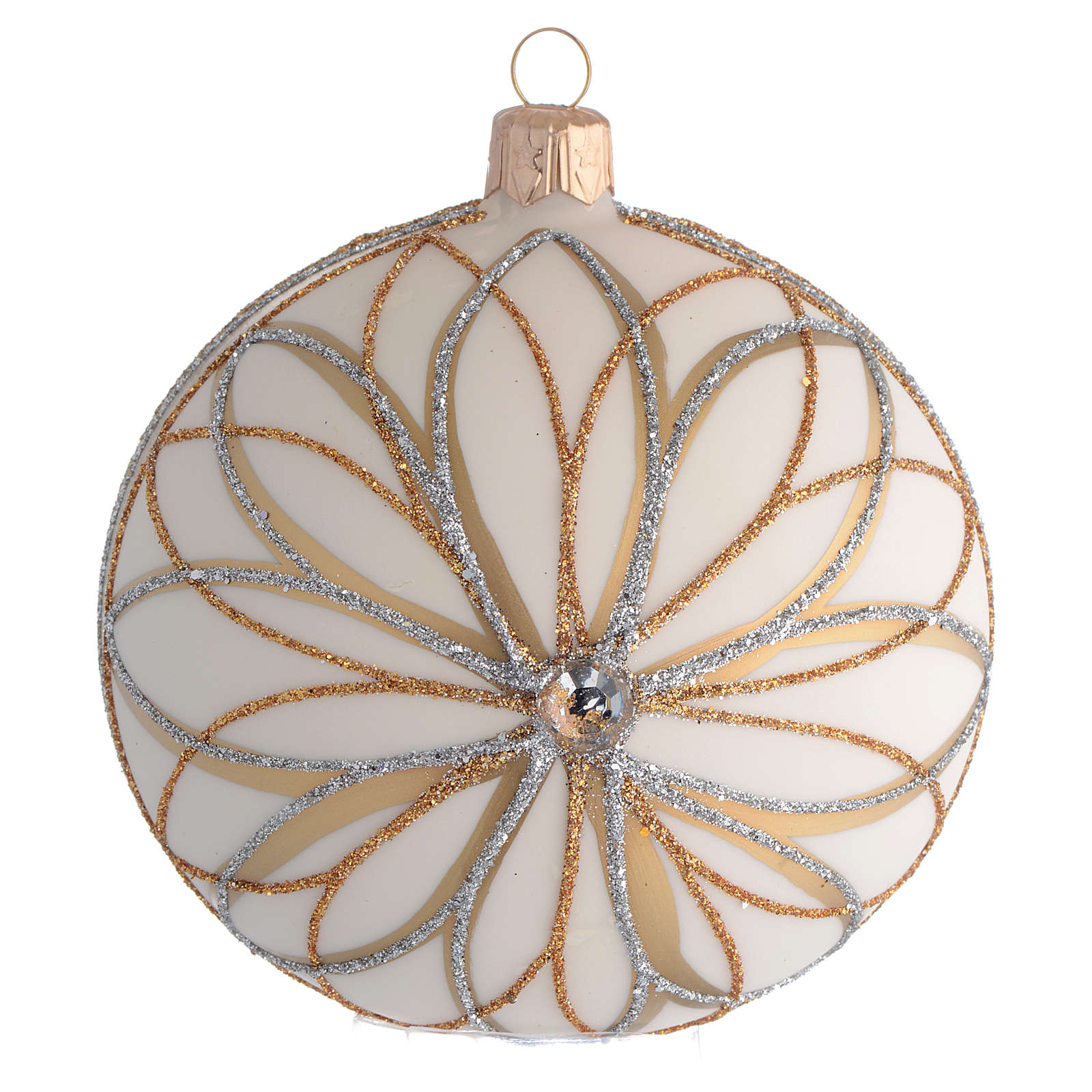 Christmas Bauble cream gold & silver 10cm 4