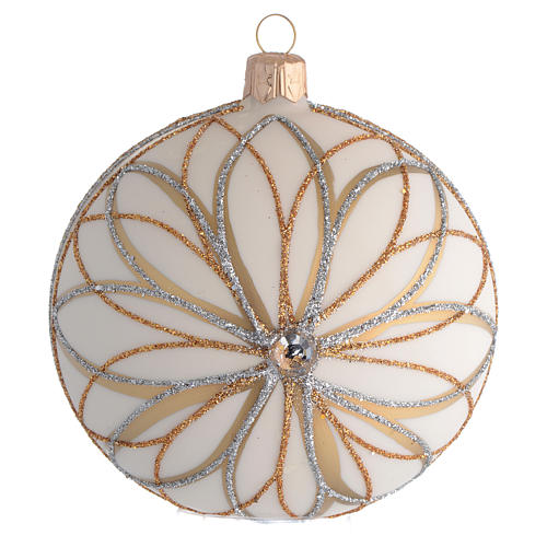 Christmas Bauble cream gold & silver 10cm 1