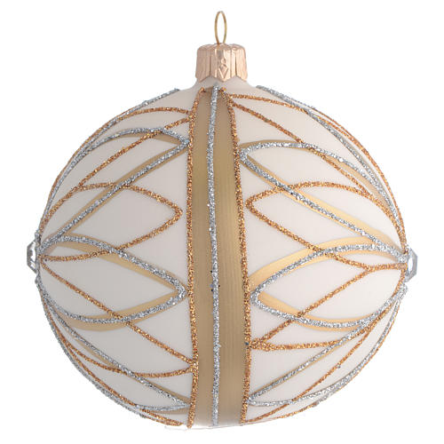 Christmas Bauble cream gold & silver 10cm 2