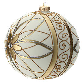 Christmas Bauble cream gold & silver 15cm s2