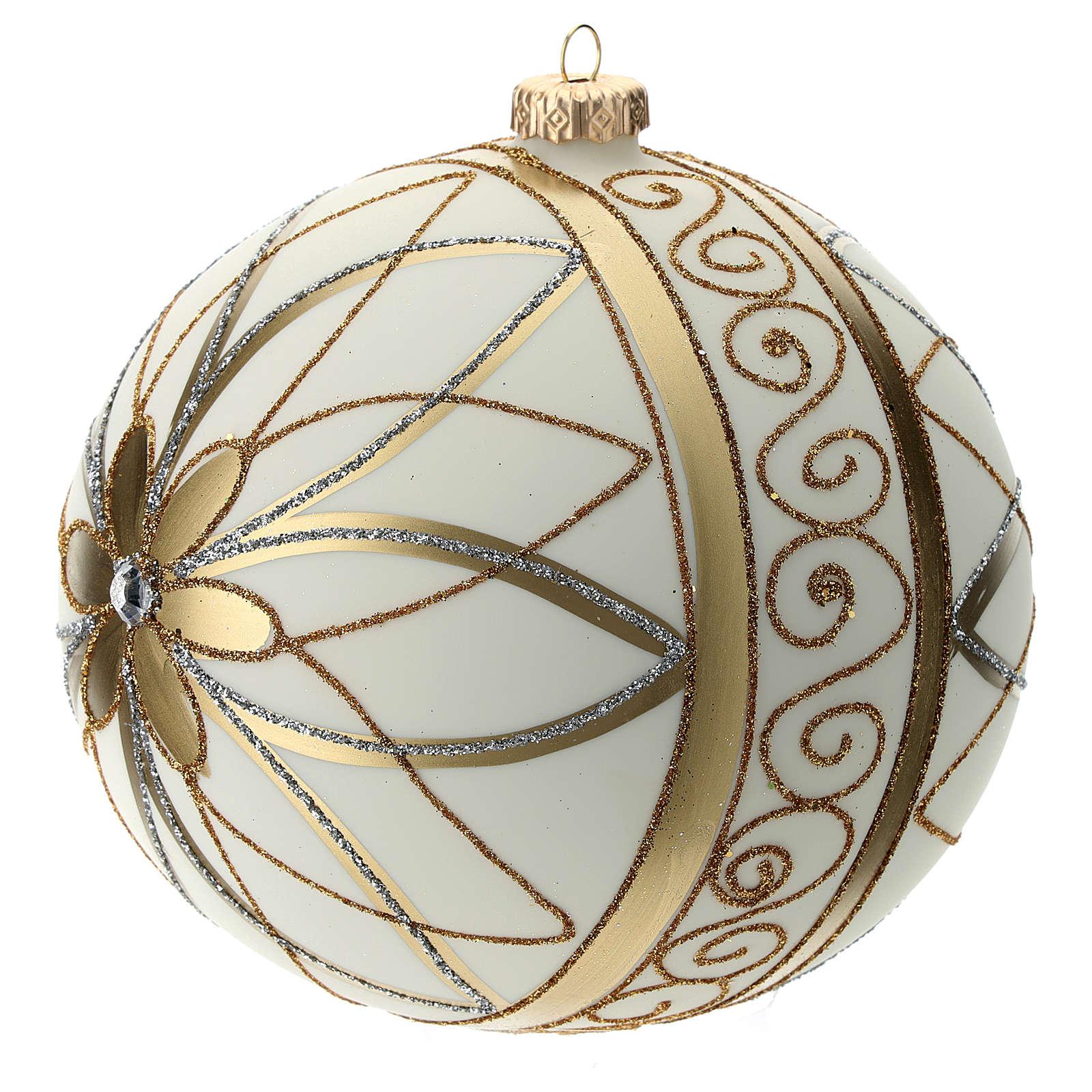 Boule de Noël décor crème or argent 150 mm 4