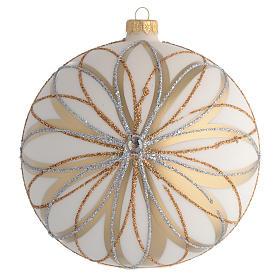 Boule de Noël décor crème or argent 150 mm s1