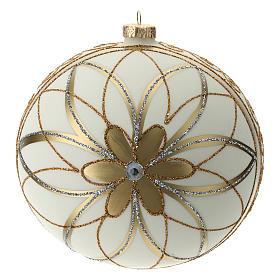 Boule de Noël décor crème or argent 150 mm s4