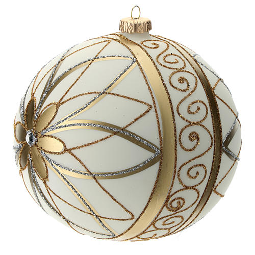 Boule de Noël décor crème or argent 150 mm 2