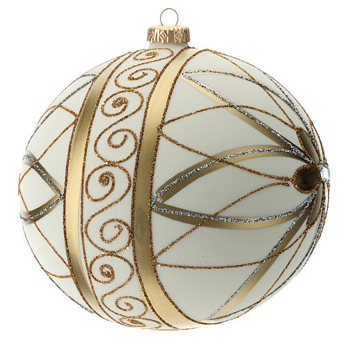 Boule de Noël décor crème or argent 150 mm 3
