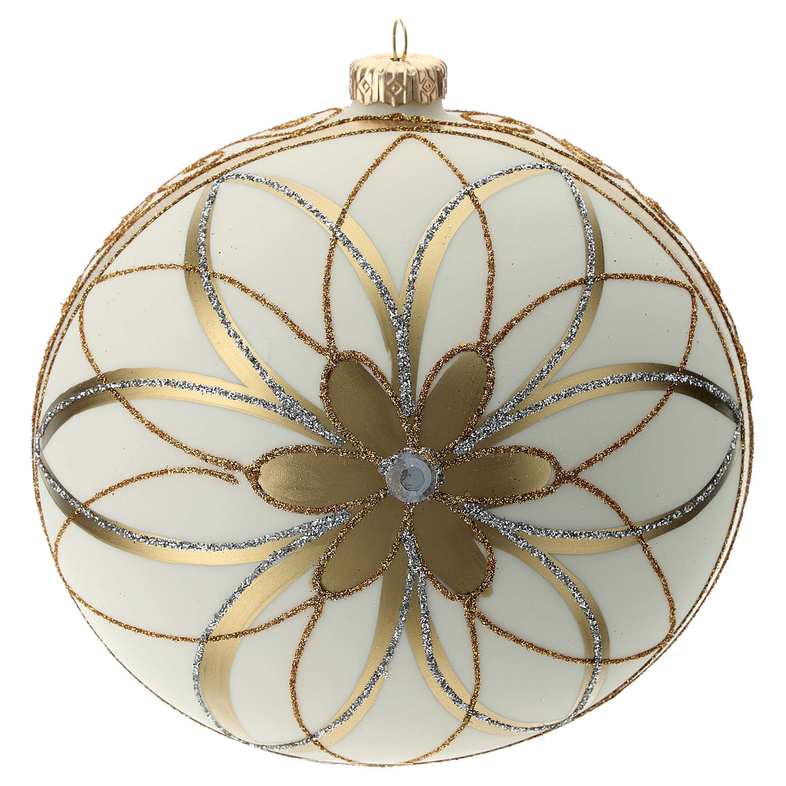 Palla addobbo Natale Panna oro argento 150 mm 4