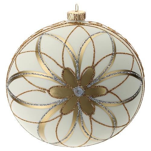 Palla addobbo Natale Panna oro argento 150 mm 1