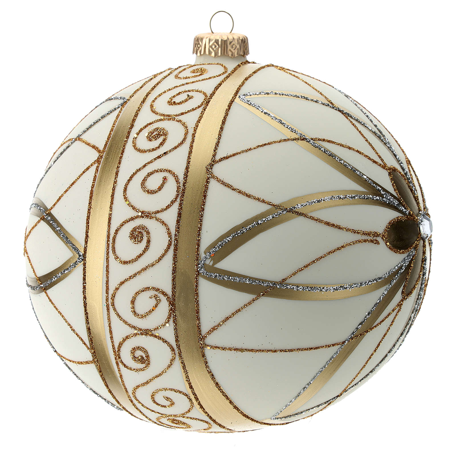 Christmas Bauble cream gold & silver 15cm 4