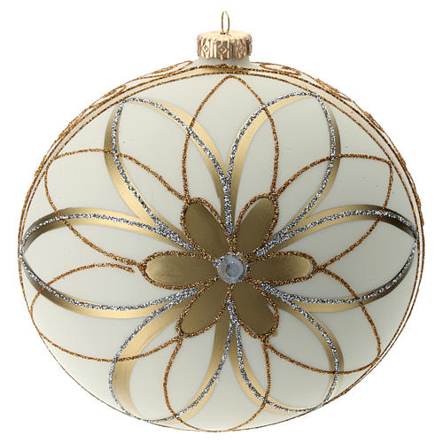 Christmas Bauble cream gold & silver 15cm 1