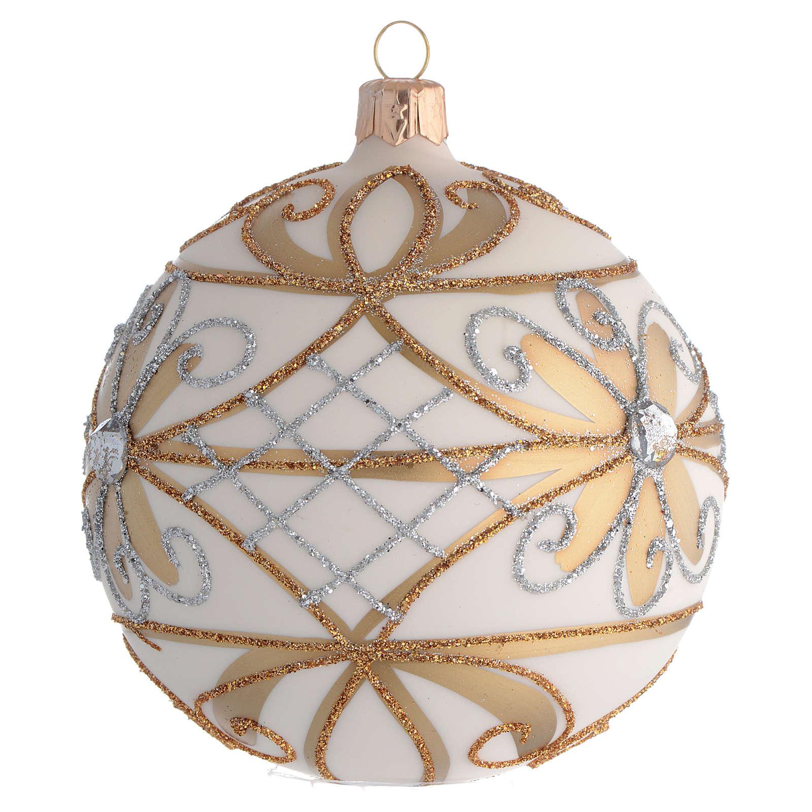 Bola de Navidad blanco crema, flores y decoraciones plateadas 100 mm 4