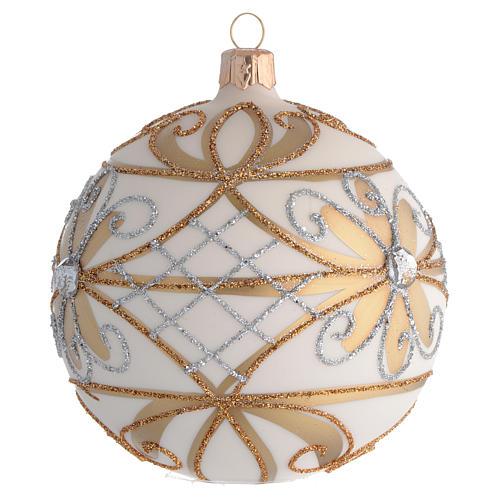 Bola de Navidad blanco crema, flores y decoraciones plateadas 100 mm 2