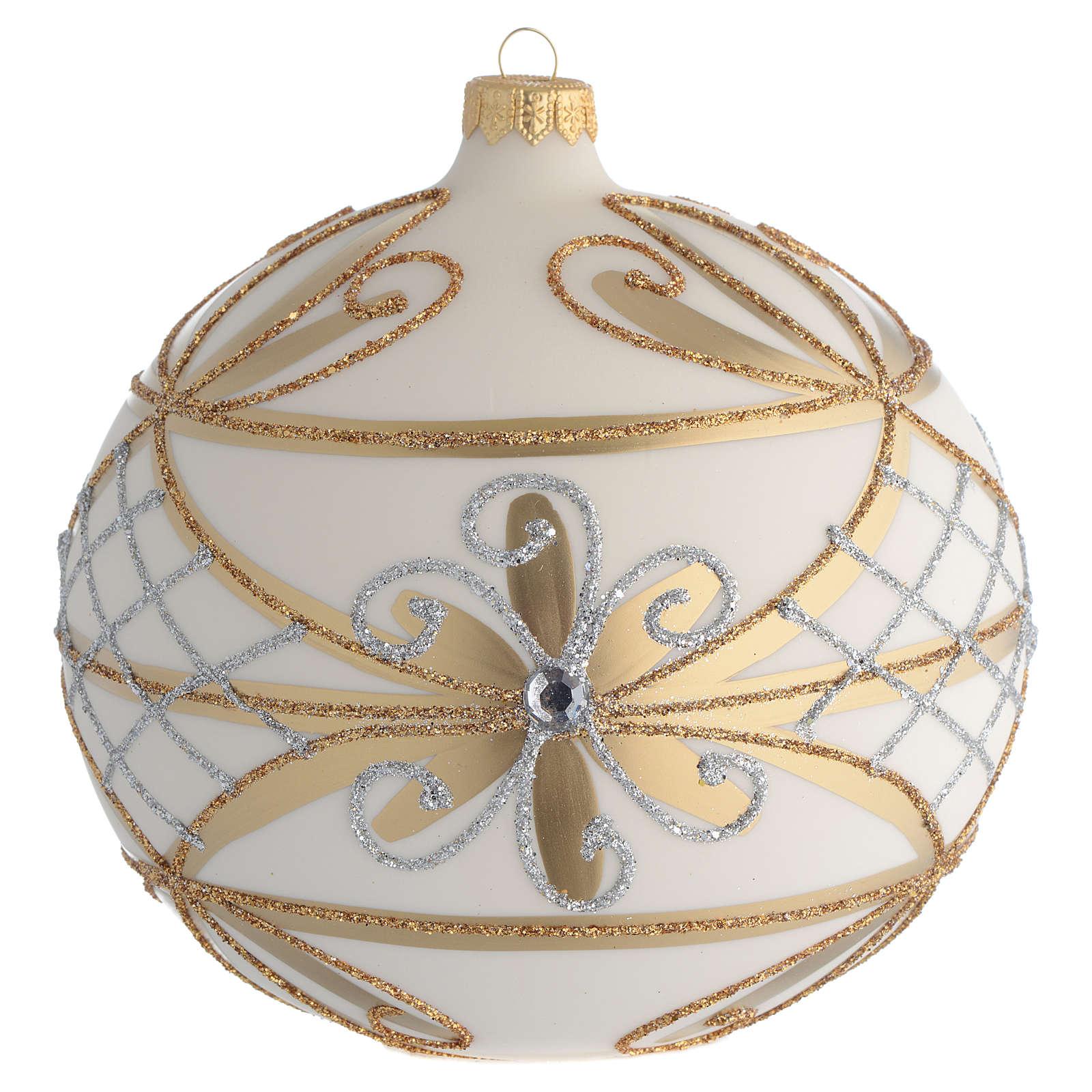 Bola de Navidad blanco crema, flores y decoraciones plateadas 150 mm 4