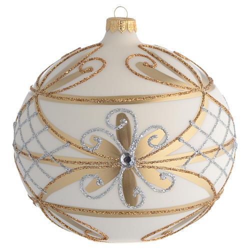 Bola de Navidad blanco crema, flores y decoraciones plateadas 150 mm 1