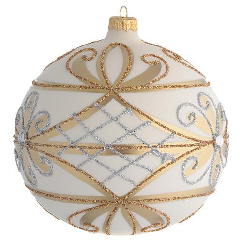 Bola de Navidad blanco crema, flores y decoraciones plateadas 150 mm 2