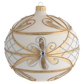 Boule Noël décor crème or fleurs argent 150 mm s1