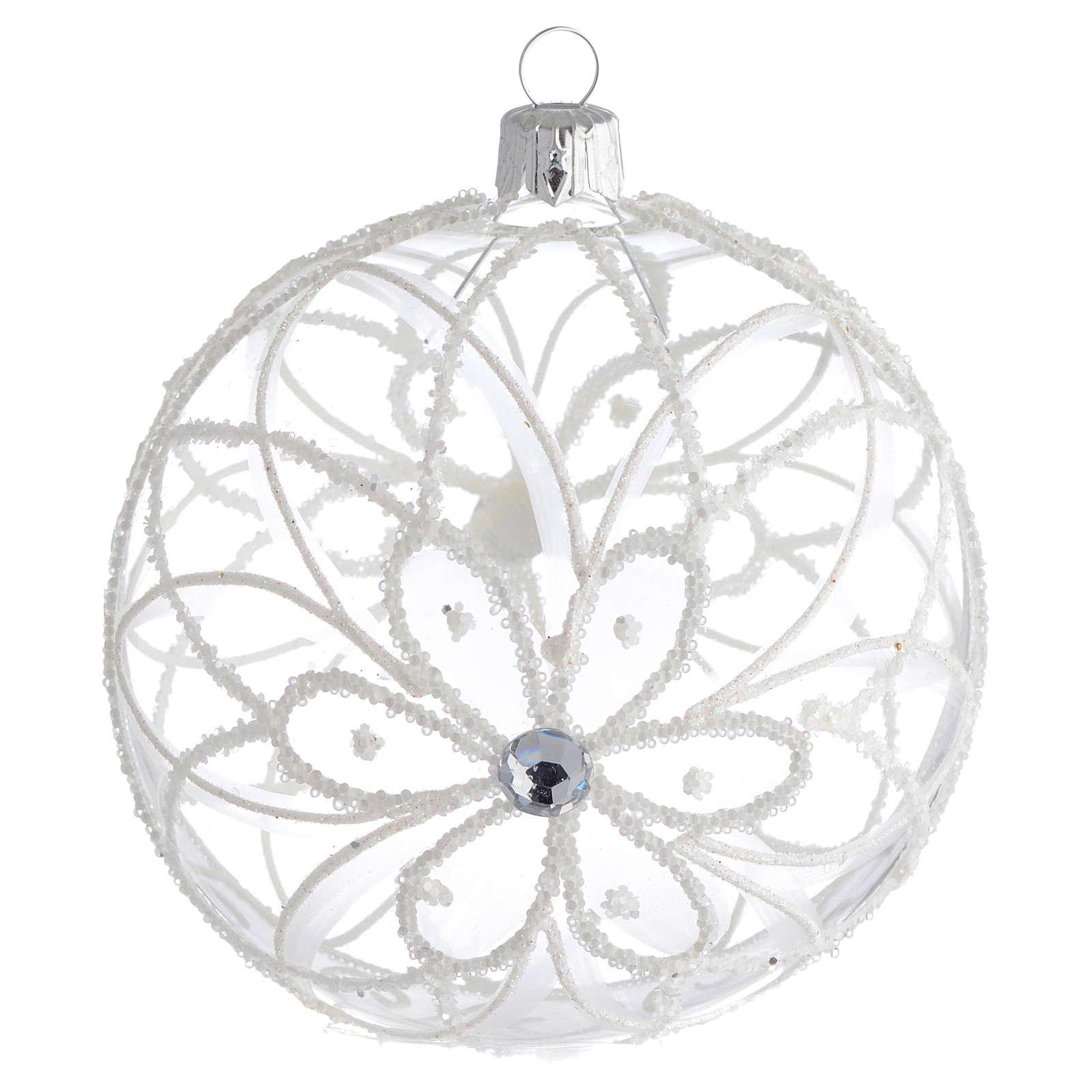 boule de no l transparente fleur blanche 100 mm vente en. Black Bedroom Furniture Sets. Home Design Ideas