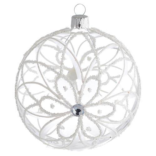 Pallina di Natale trasparente fiore bianco 100 mm 1