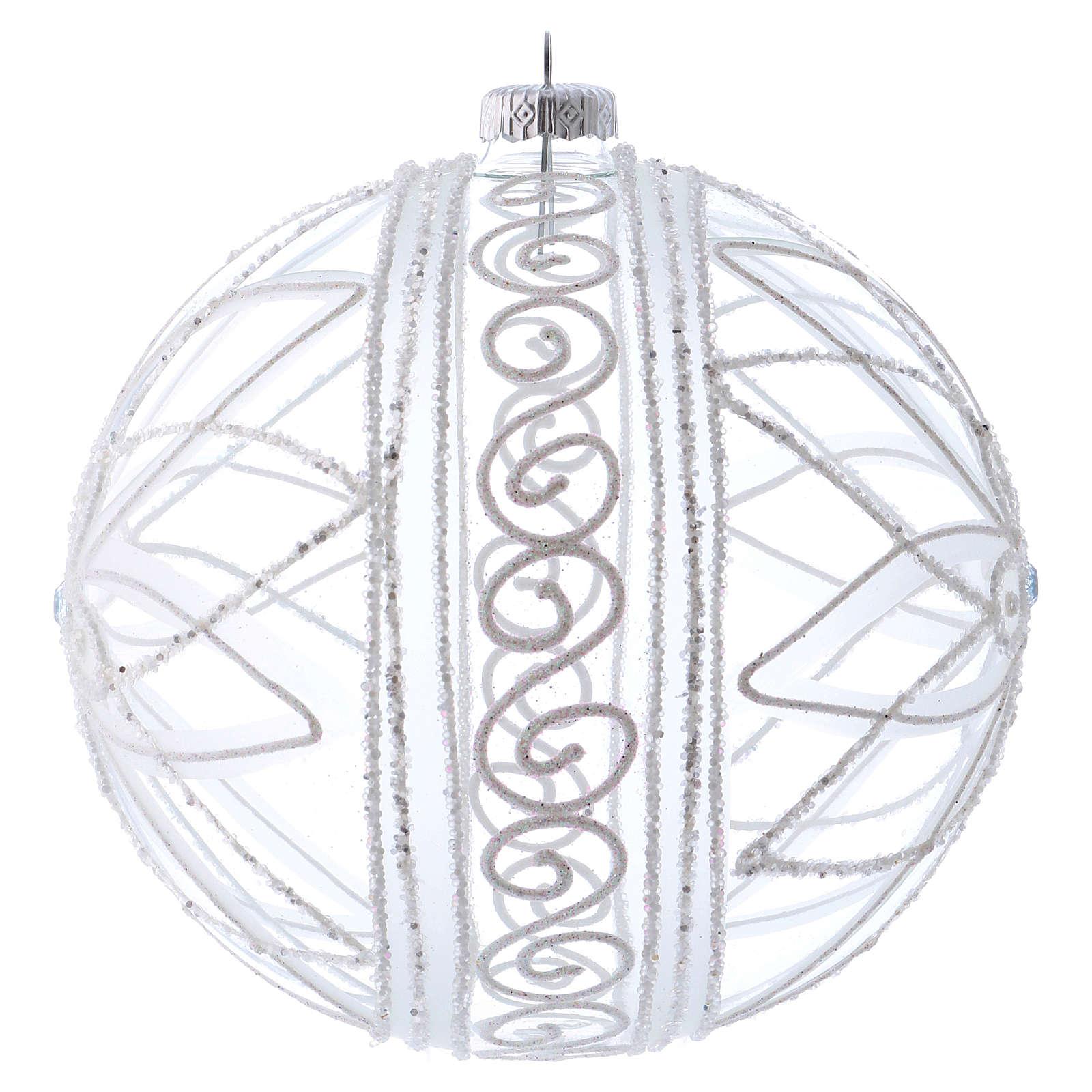 Bola de Navidad transparente flor blanca 150 mm 4