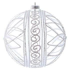 Bola de Navidad transparente flor blanca 150 mm s2