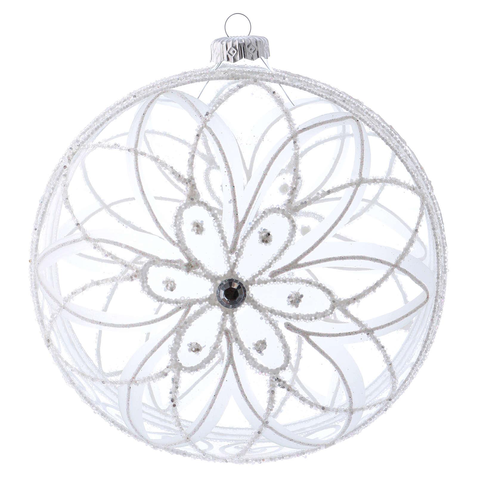 Palla addobbo Natale trasparente fiore bianco 150 mm 4