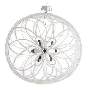 Palla addobbo Natale trasparente fiore bianco 150 mm s1